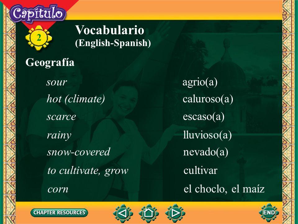 Vocabulario Geografía sour agrio(a) hot (climate) caluroso(a) scarce