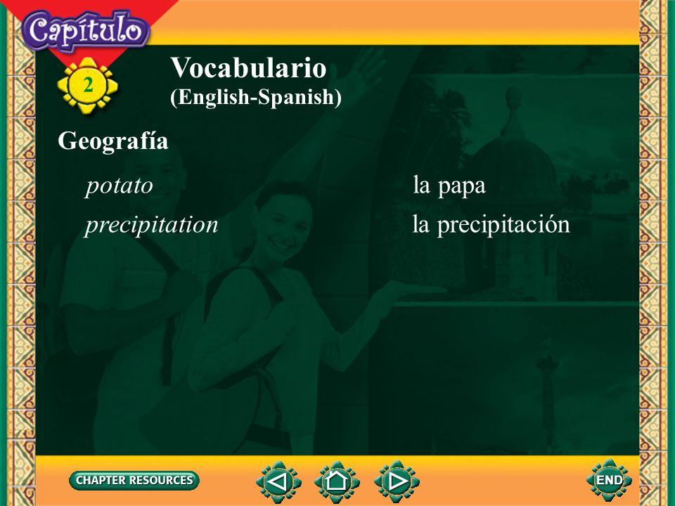 Vocabulario Geografía potato la papa precipitation la precipitación