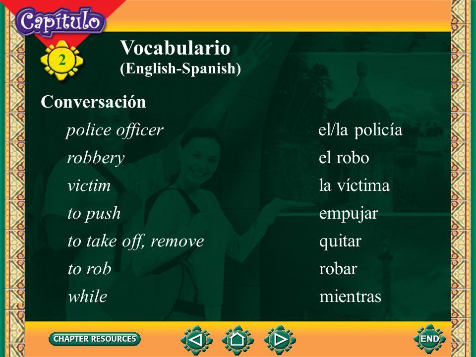 Vocabulario Conversación police officer el/la policía robbery el robo