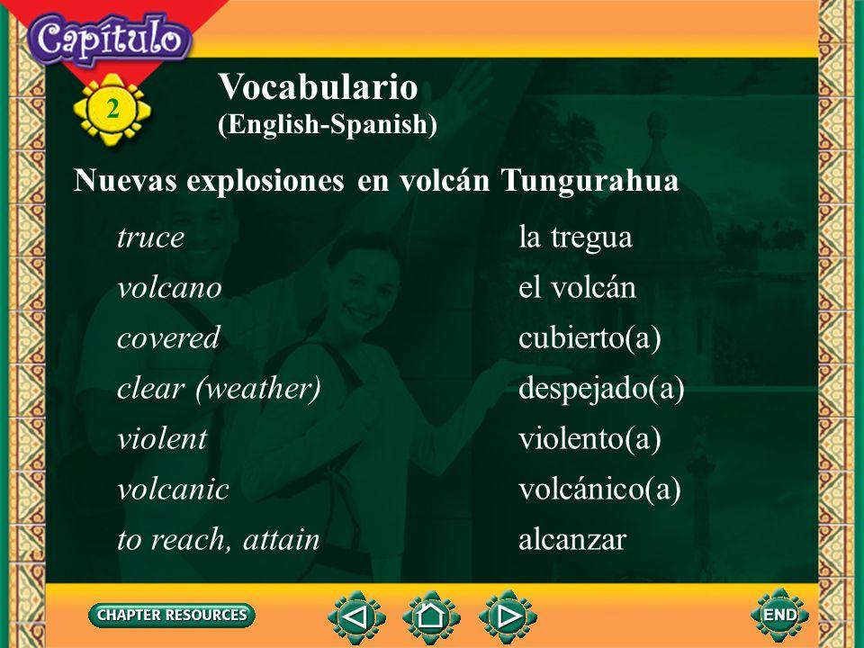 Vocabulario Nuevas explosiones en volcán Tungurahua truce la tregua