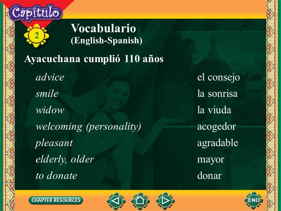 Vocabulario Ayacuchana cumplió 110 años advice el consejo smile