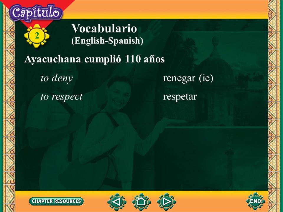 Vocabulario Ayacuchana cumplió 110 años to deny renegar (ie)