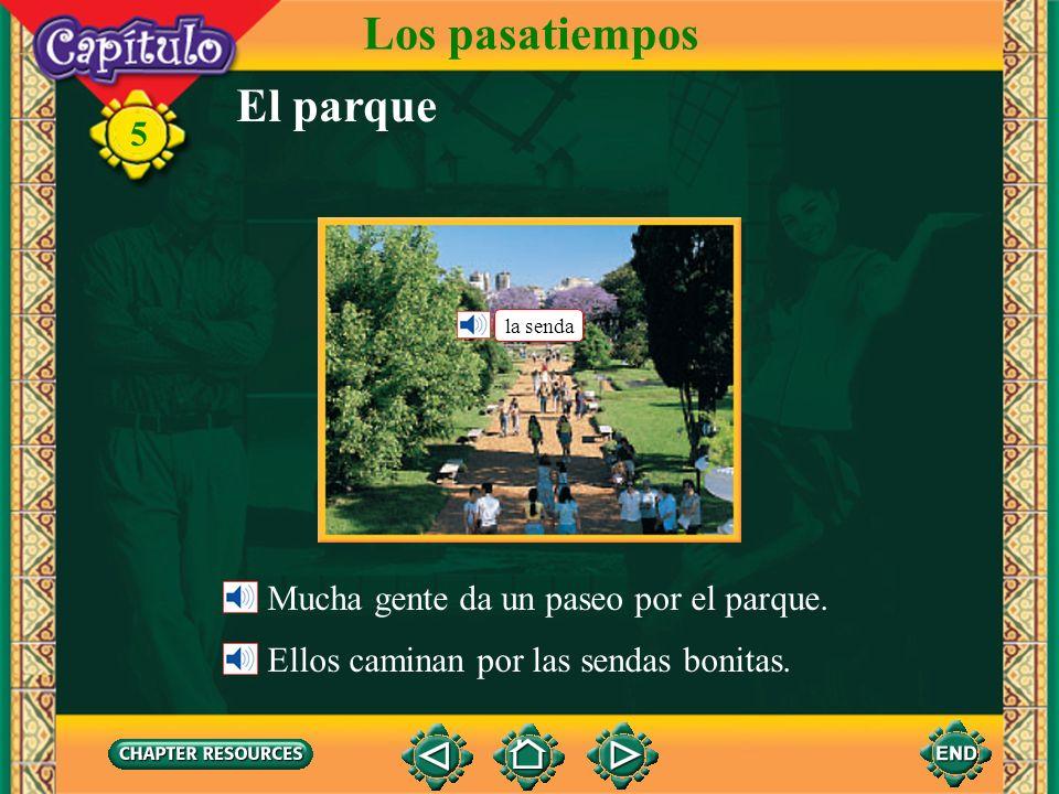 Los pasatiempos El parque Mucha gente da un paseo por el parque.
