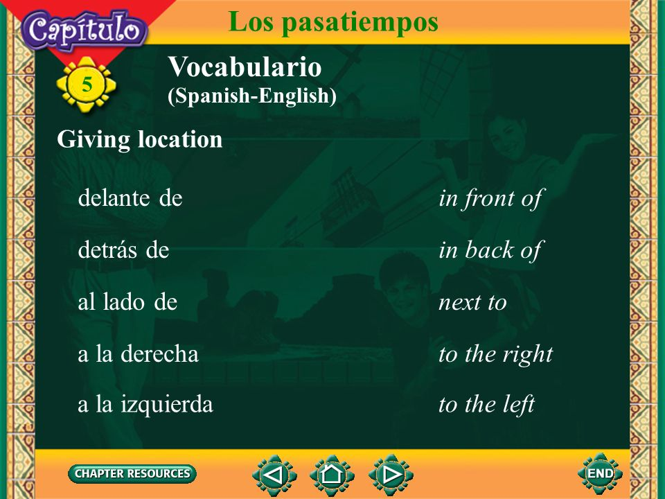 Los pasatiempos Vocabulario Giving location delante de in front of