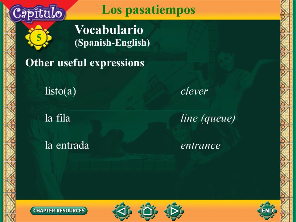 Los pasatiempos Vocabulario Other useful expressions listo(a) clever