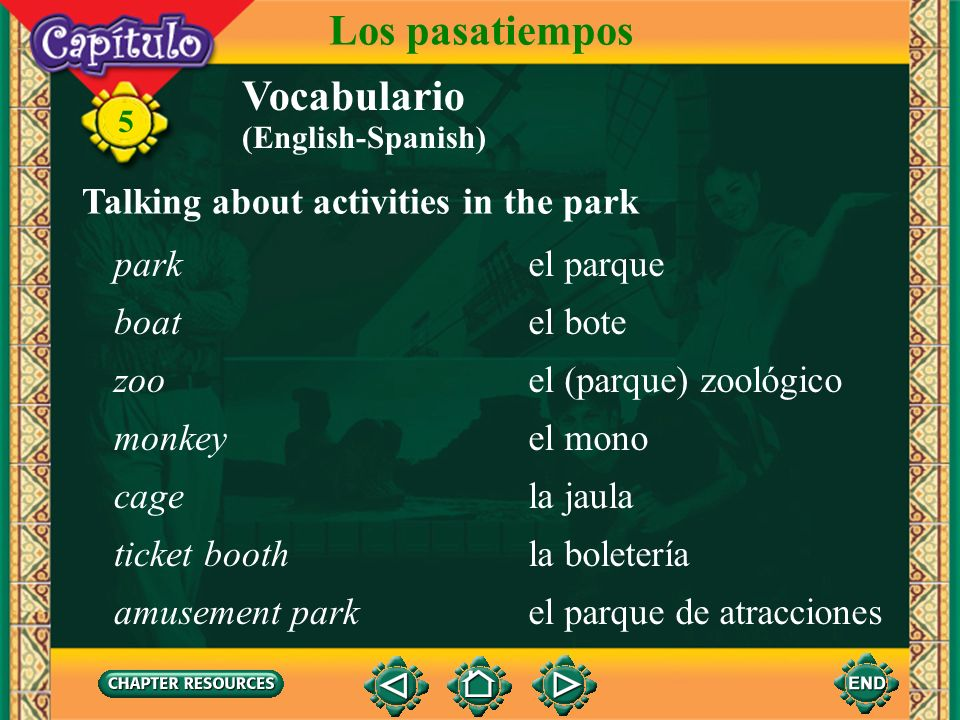 Los pasatiempos Vocabulario Talking about activities in the park park