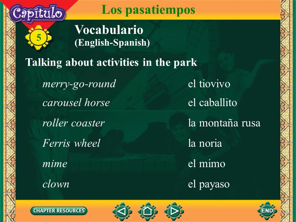 Los pasatiempos Vocabulario Talking about activities in the park