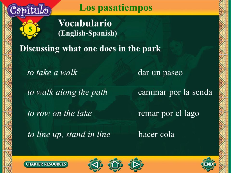 Los pasatiempos Vocabulario Discussing what one does in the park