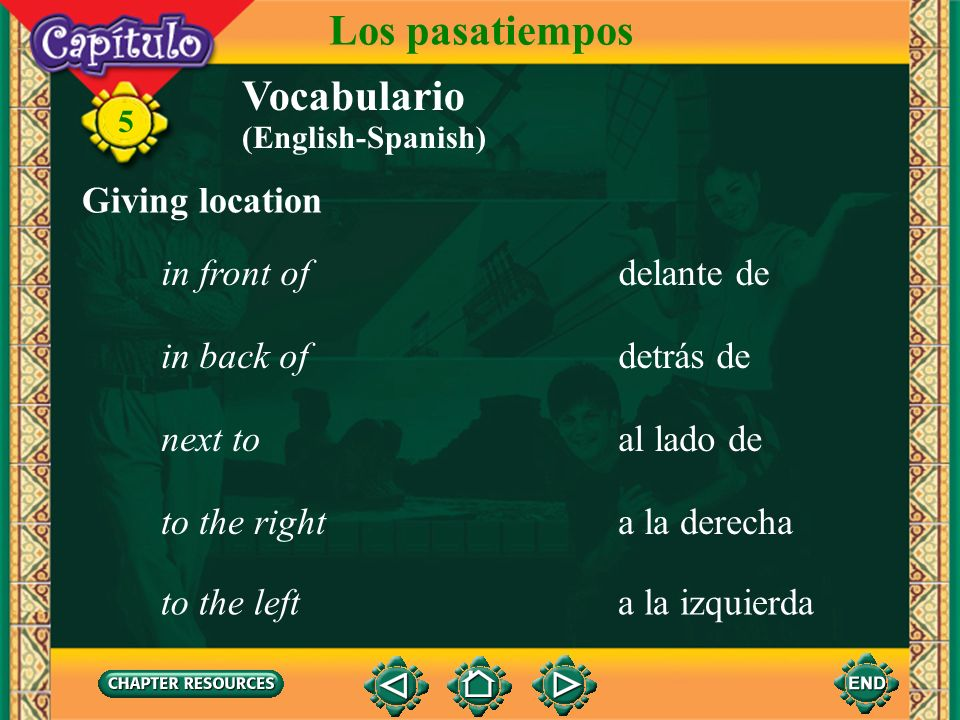 Los pasatiempos Vocabulario Giving location in front of delante de