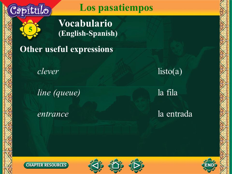 Los pasatiempos Vocabulario Other useful expressions clever listo(a)