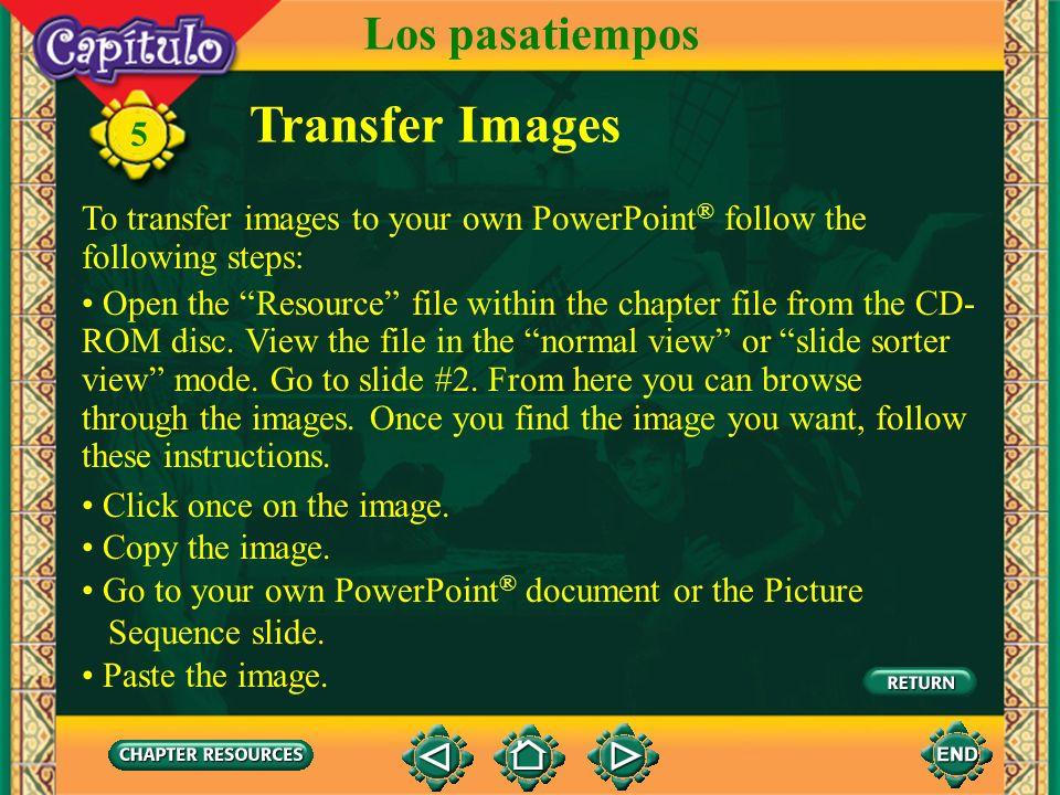 Transfer Images Los pasatiempos