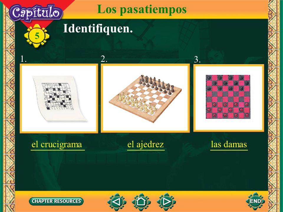 Los pasatiempos Identifiquen. 1. 2. 3. el crucigrama el ajedrez