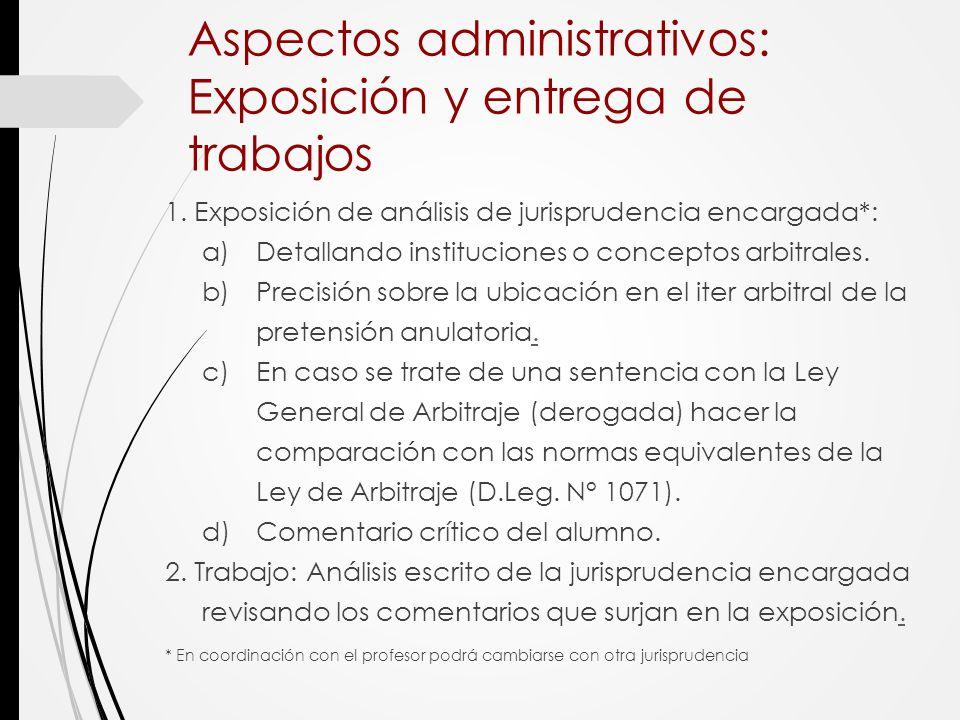 Aspectos administrativos: Exposición y entrega de trabajos