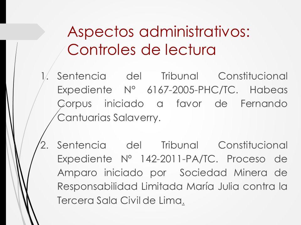 Aspectos administrativos: Controles de lectura