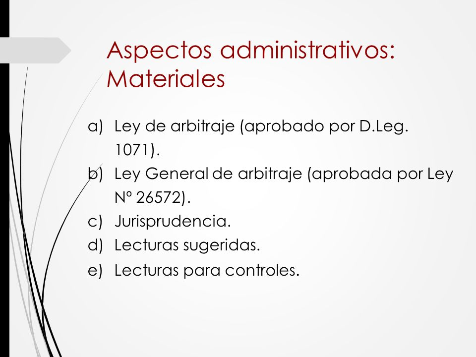 Aspectos administrativos: Materiales