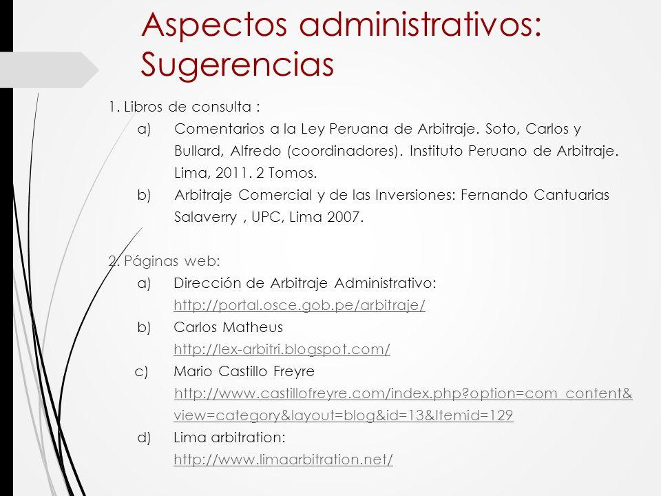 Aspectos administrativos: Sugerencias