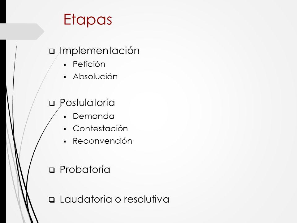 Etapas Implementación Postulatoria Probatoria Laudatoria o resolutiva