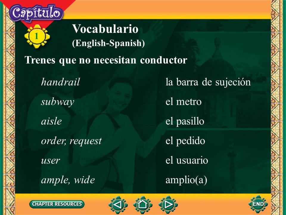 Vocabulario Trenes que no necesitan conductor handrail
