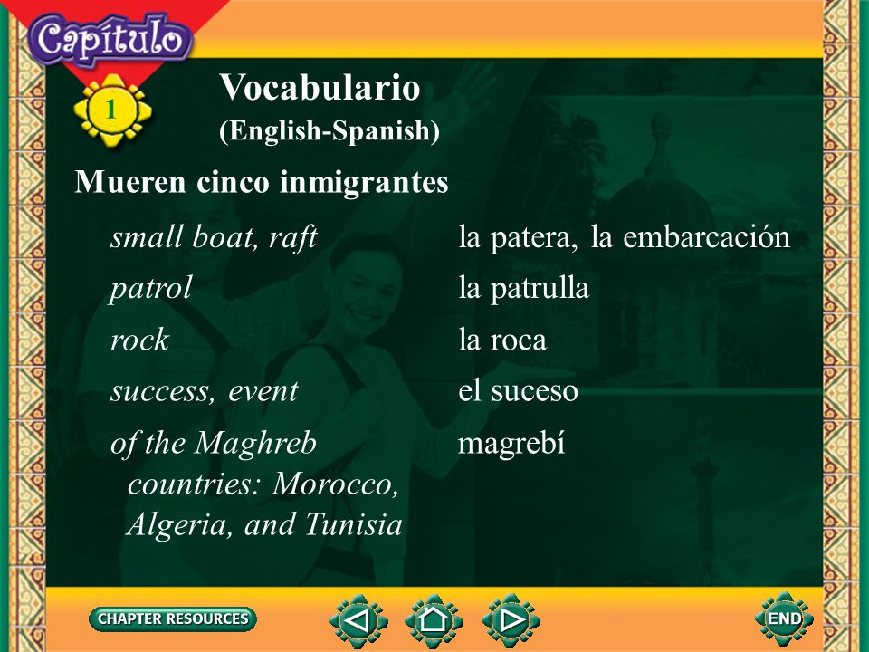 Vocabulario Mueren cinco inmigrantes small boat, raft