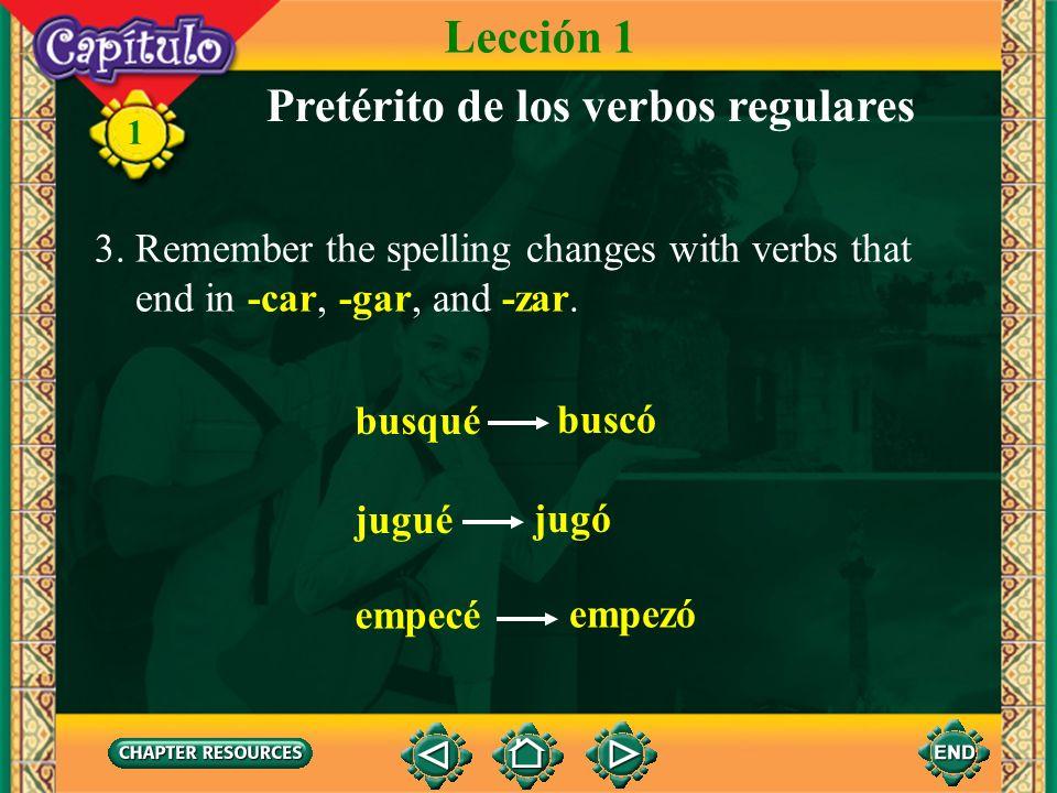Pretérito de los verbos regulares