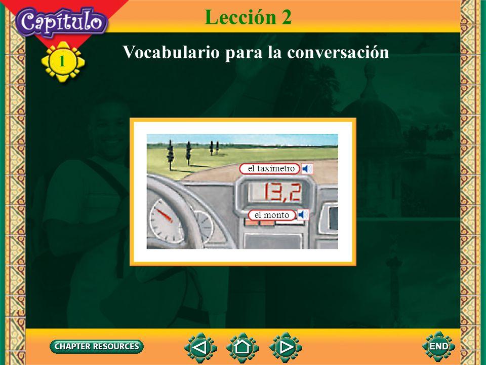 Lección 2 Vocabulario para la conversación el taxímetro el monto