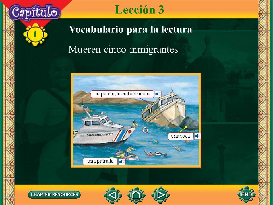 Lección 3 Vocabulario para la lectura Mueren cinco inmigrantes