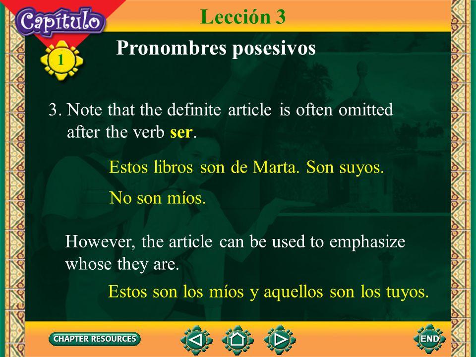 Lección 3 Pronombres posesivos