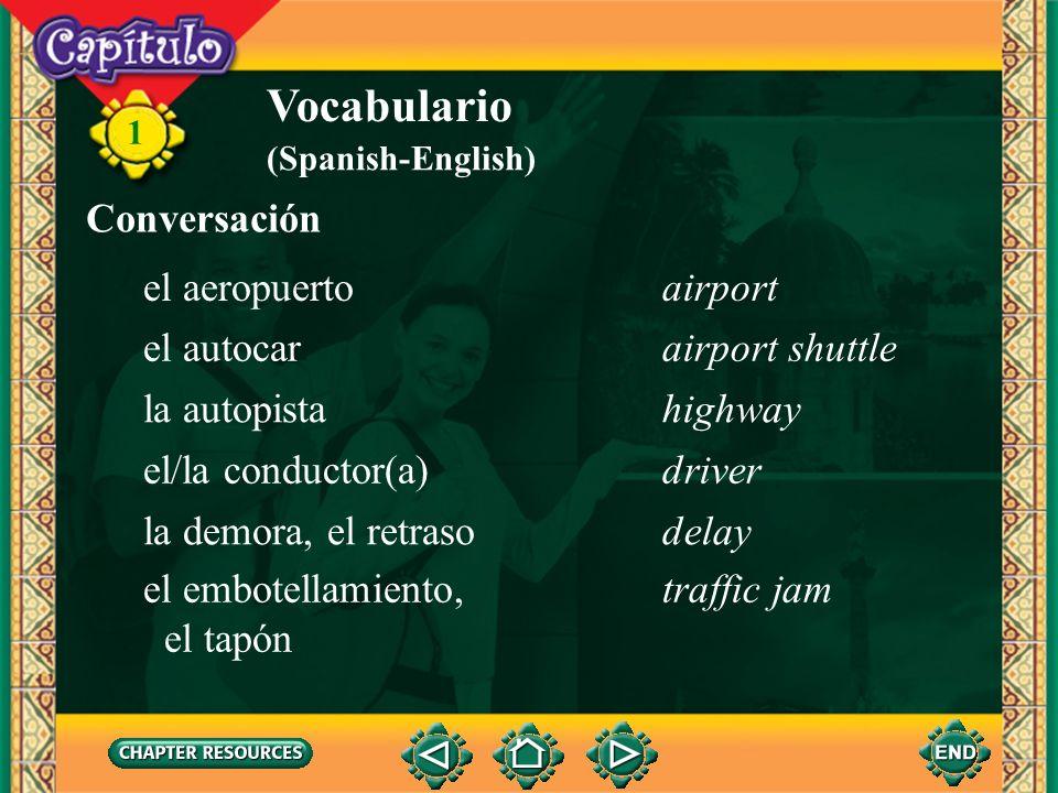 Vocabulario Conversación el aeropuerto airport el autocar