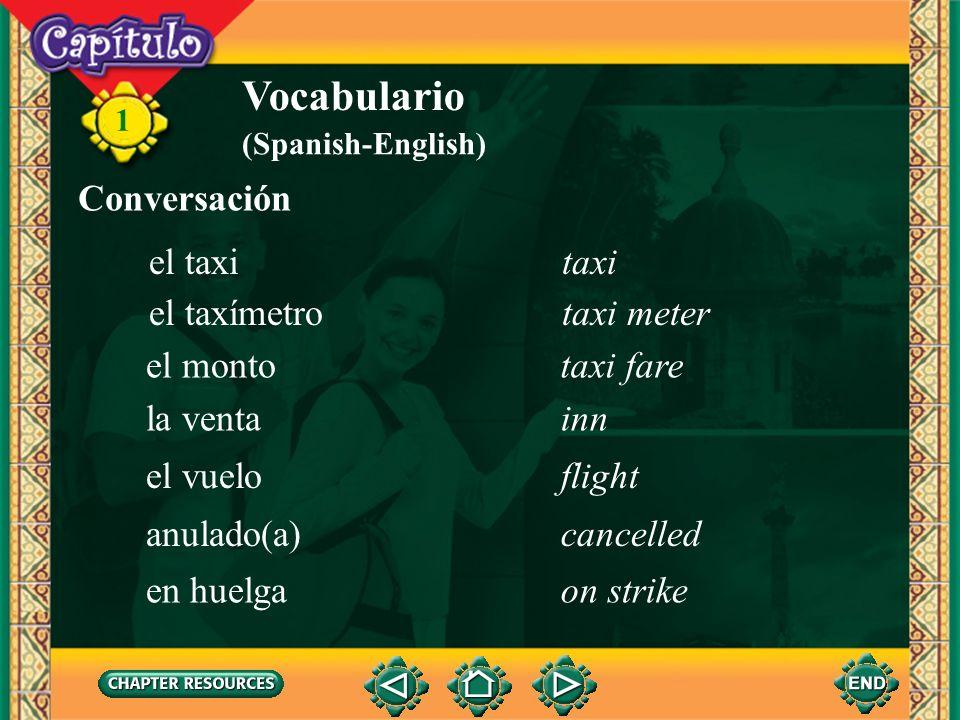 Vocabulario Conversación el taxi taxi el taxímetro taxi meter el monto