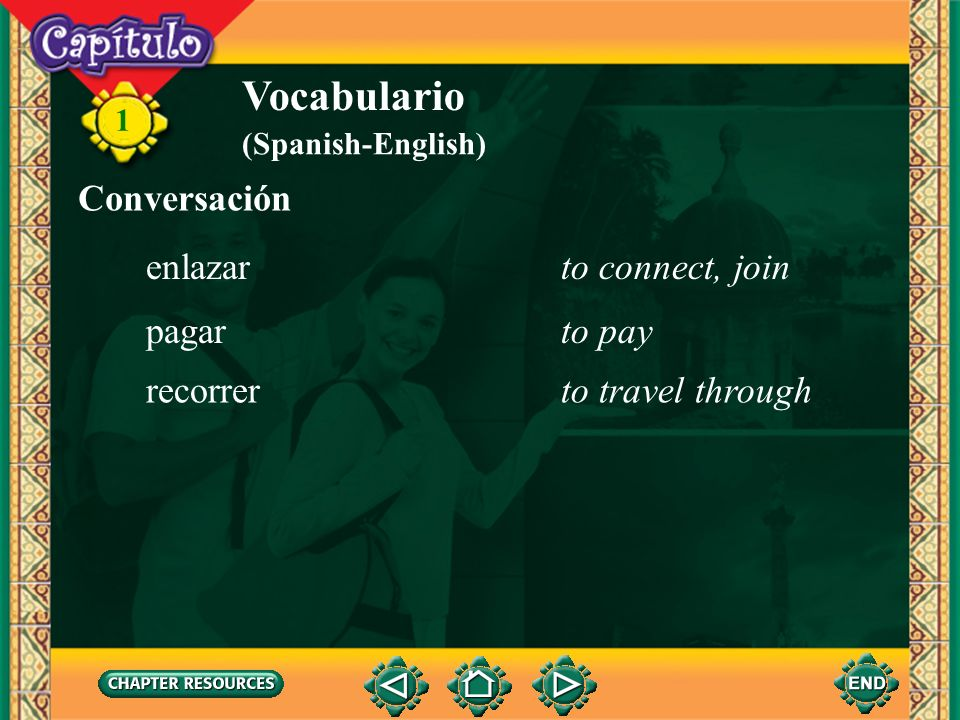 Vocabulario Conversación enlazar to connect, join pagar to pay