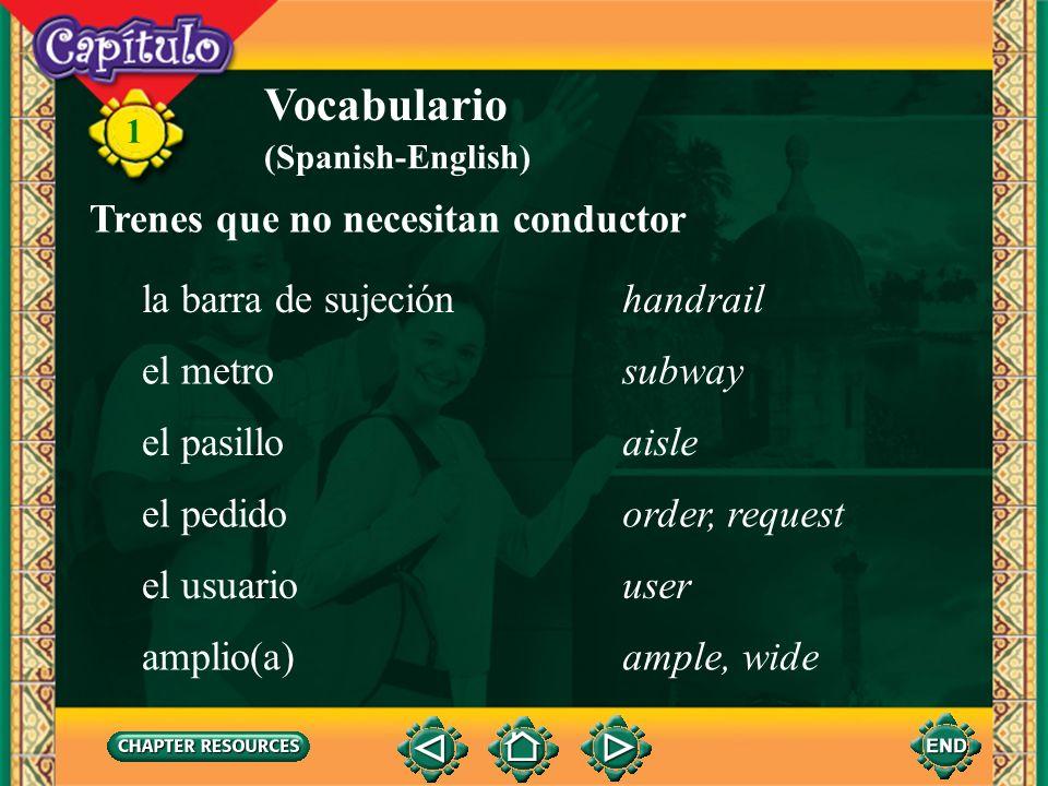 Vocabulario Trenes que no necesitan conductor la barra de sujeción