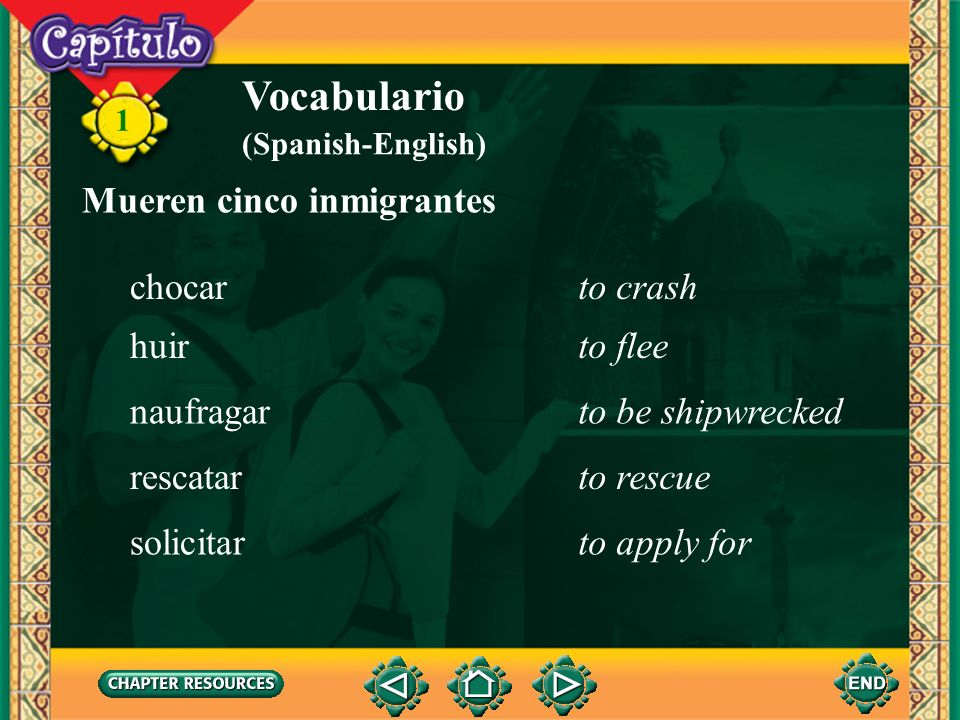 Vocabulario Mueren cinco inmigrantes chocar to crash huir to flee