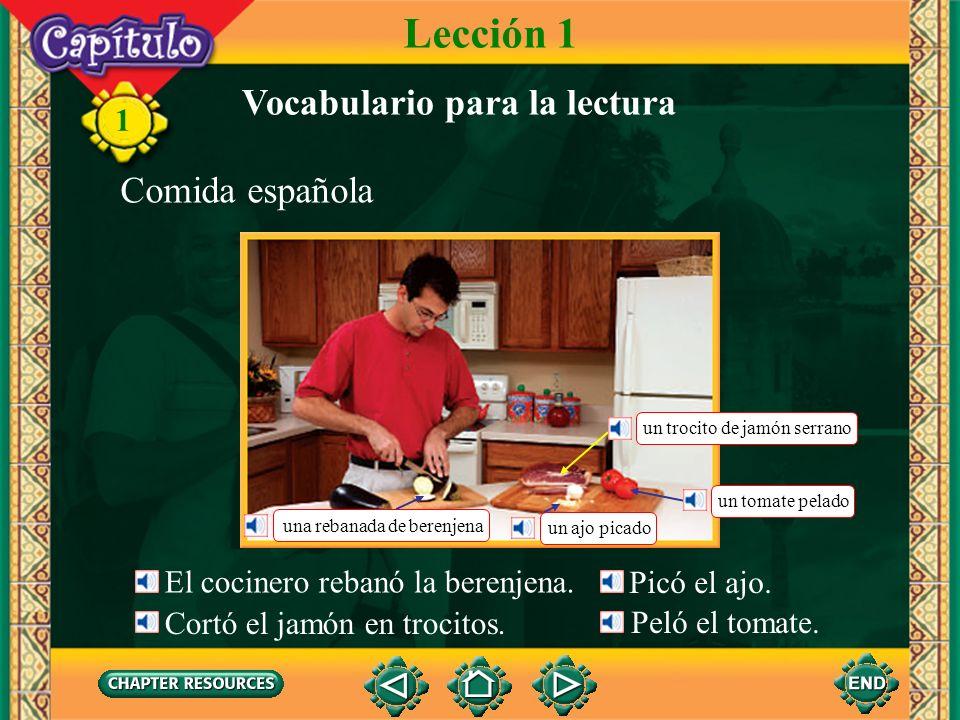 Lección 1 Vocabulario para la lectura Comida española