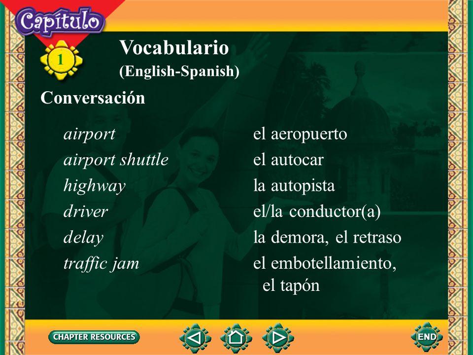 Vocabulario Conversación airport el aeropuerto airport shuttle