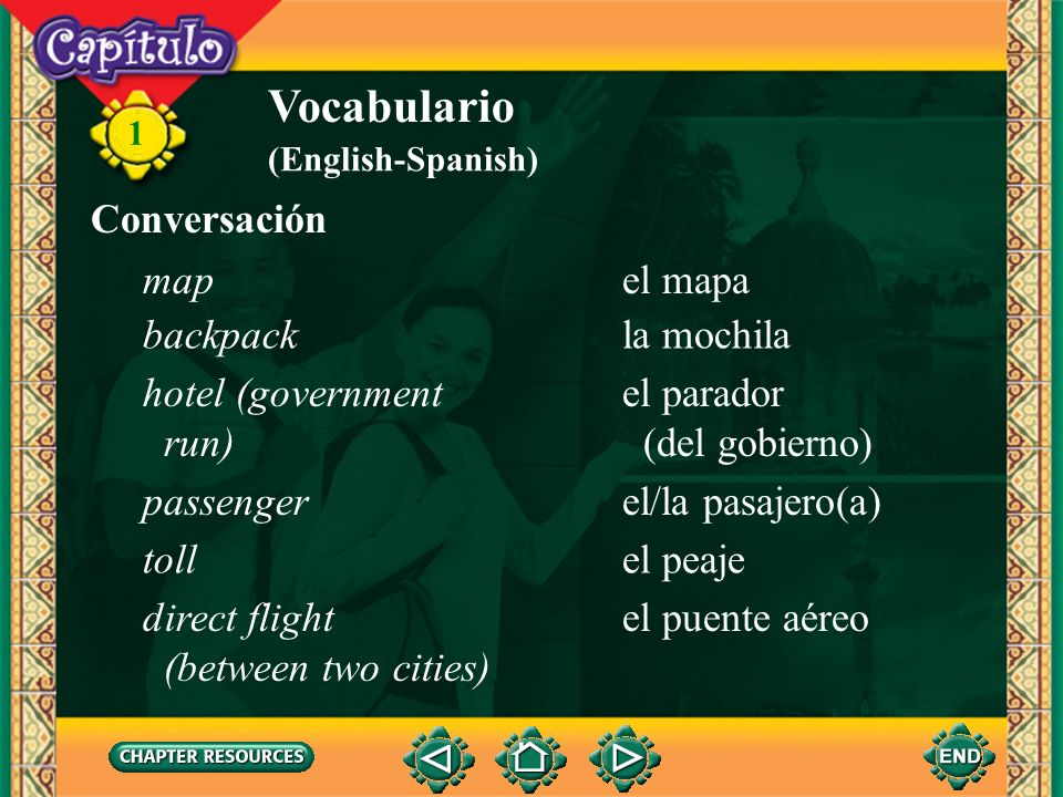 Vocabulario Conversación map el mapa backpack la mochila