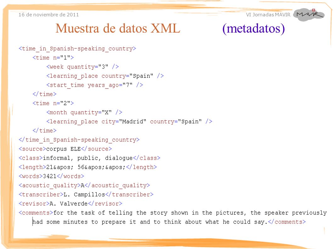 Muestra de datos XML (metadatos)