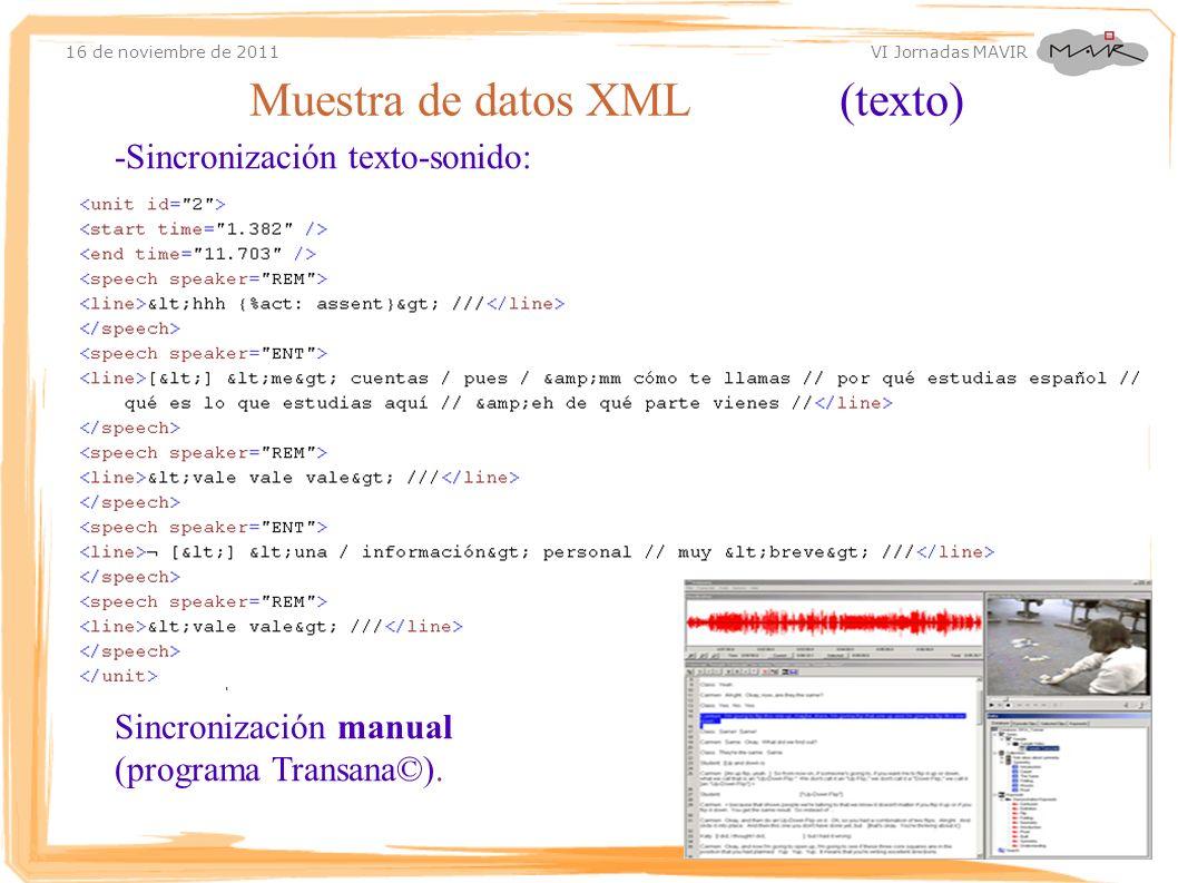 Muestra de datos XML (texto)