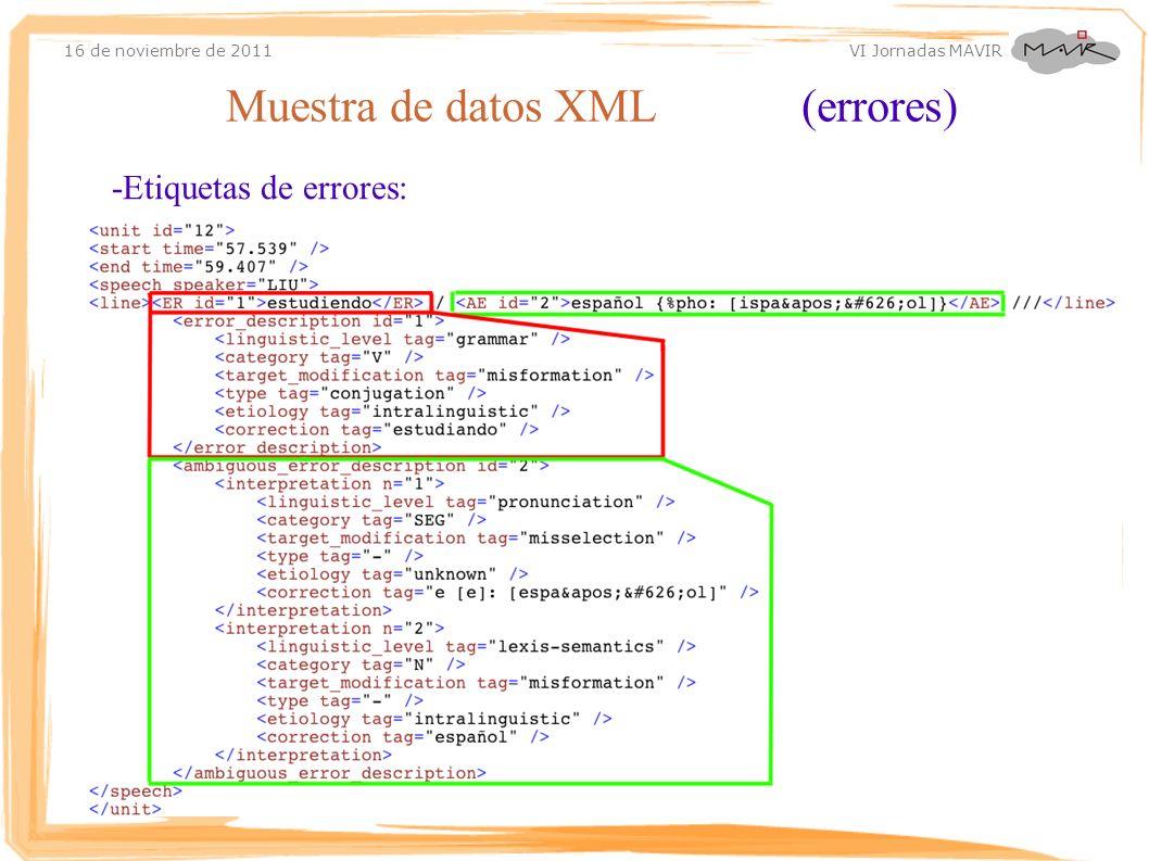 Muestra de datos XML (errores)