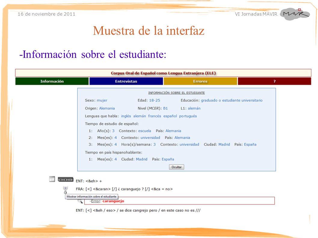 Muestra de la interfaz -Información sobre el estudiante:
