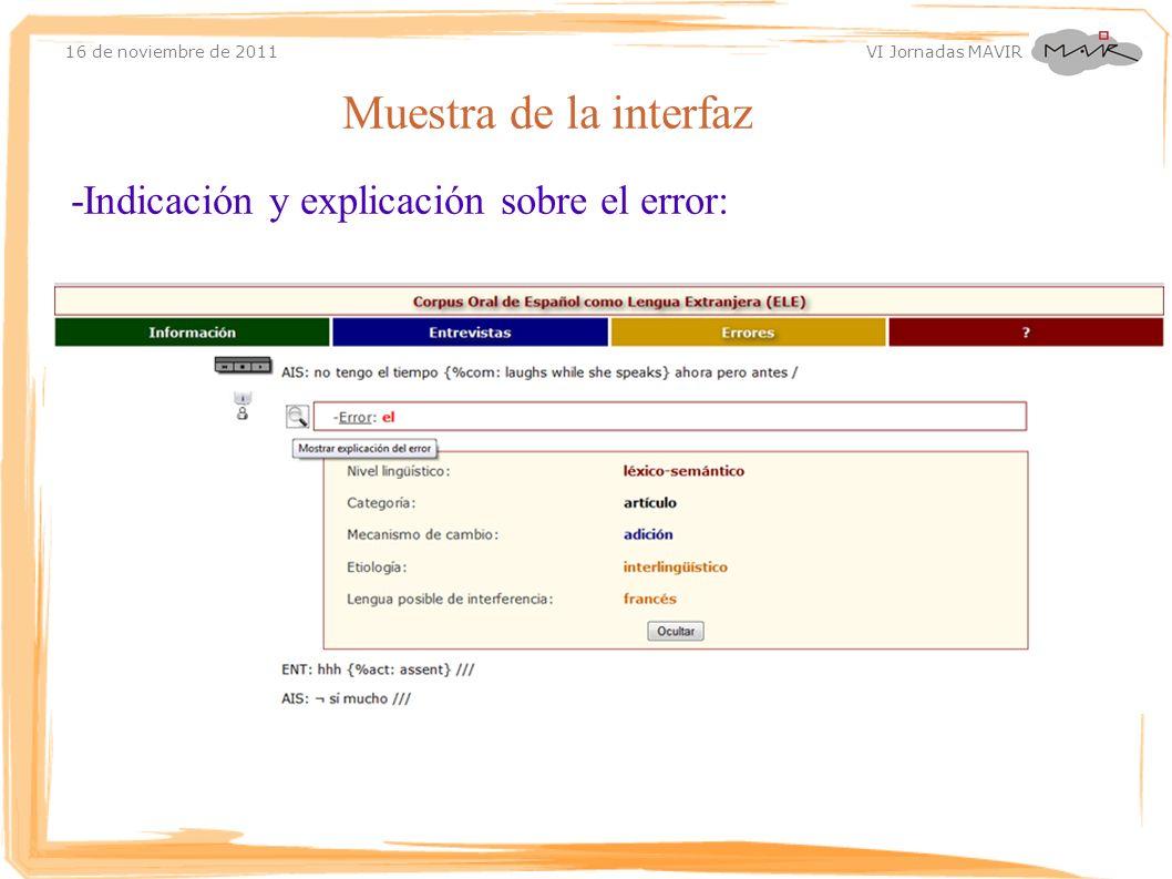 Muestra de la interfaz -Indicación y explicación sobre el error: