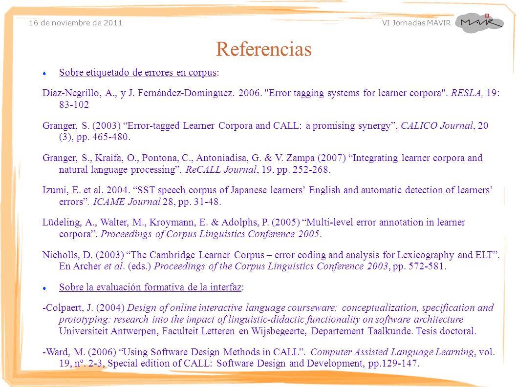Referencias Sobre etiquetado de errores en corpus: