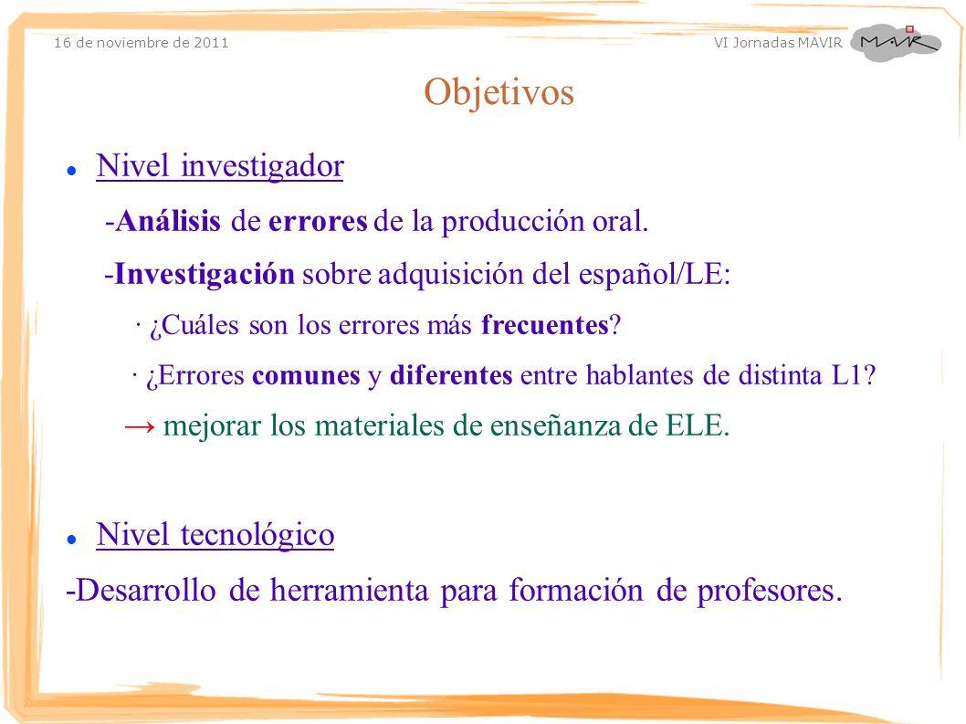 Objetivos Nivel investigador