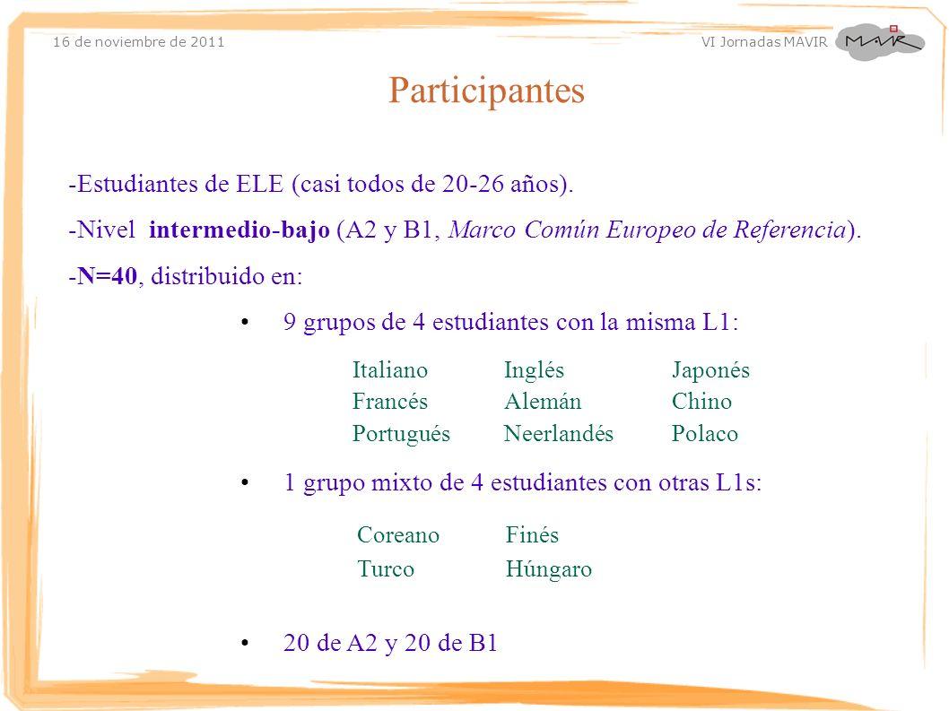 Participantes -Estudiantes de ELE (casi todos de 20-26 años).