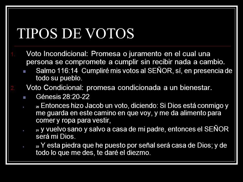 TIPOS DE VOTOS Voto Incondicional: Promesa o juramento en el cual una persona se compromete a cumplir sin recibir nada a cambio.
