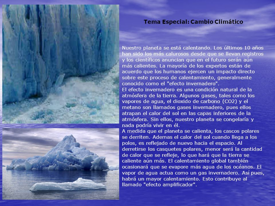 Tema Especial: Cambio Climático