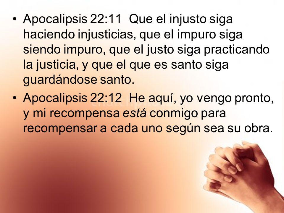 Apocalipsis 22:11 Que el injusto siga haciendo injusticias, que el impuro siga siendo impuro, que el justo siga practicando la justicia, y que el que es santo siga guardándose santo.