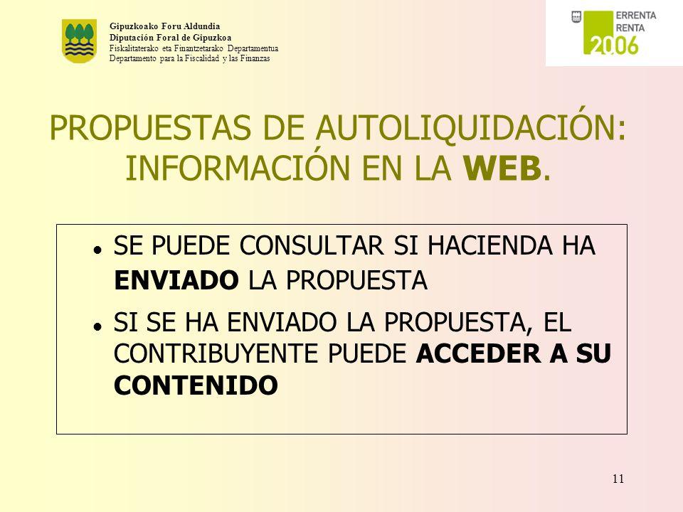 PROPUESTAS DE AUTOLIQUIDACIÓN: INFORMACIÓN EN LA WEB.
