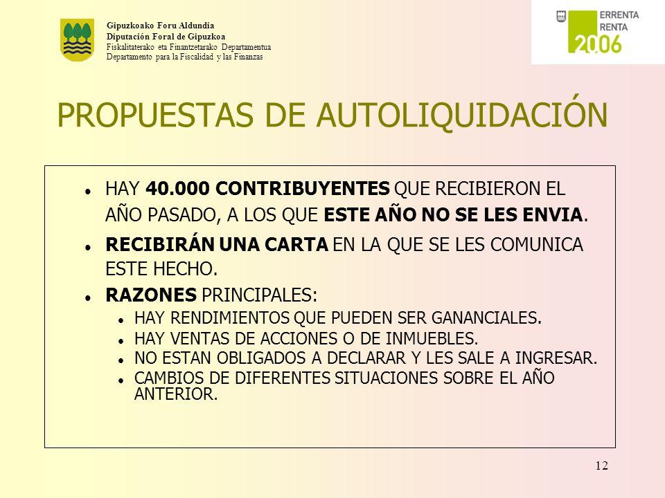 PROPUESTAS DE AUTOLIQUIDACIÓN