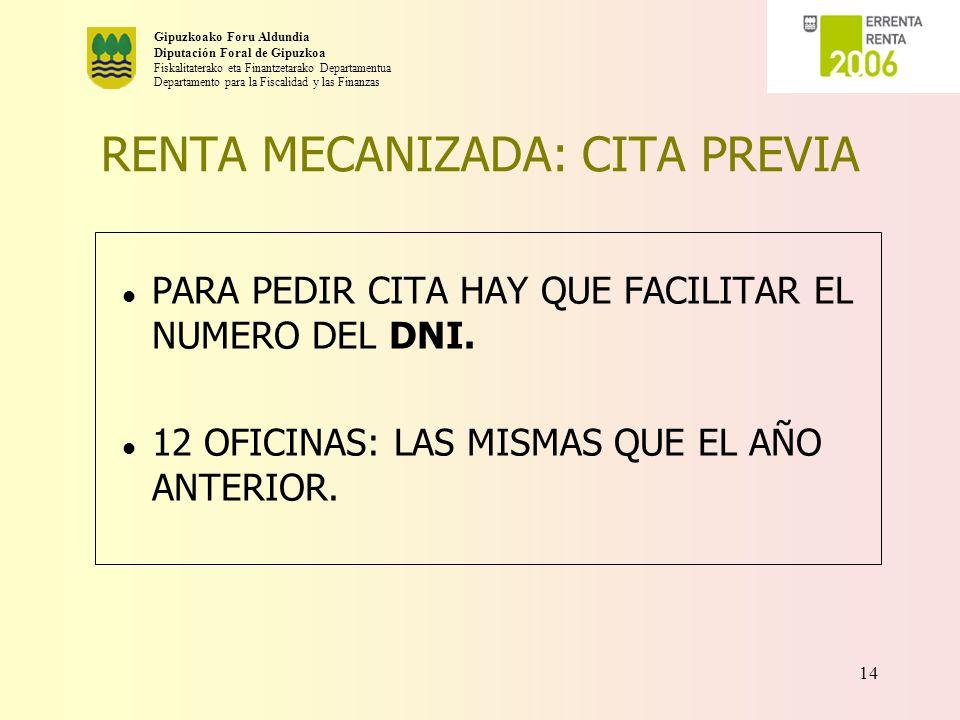 RENTA MECANIZADA: CITA PREVIA