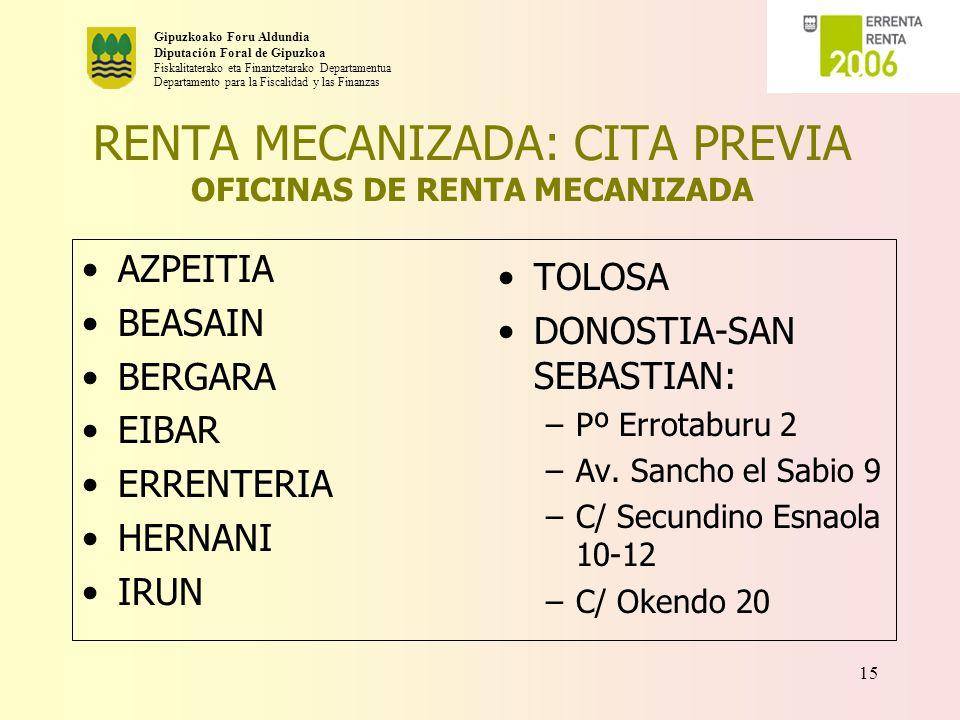 RENTA MECANIZADA: CITA PREVIA OFICINAS DE RENTA MECANIZADA